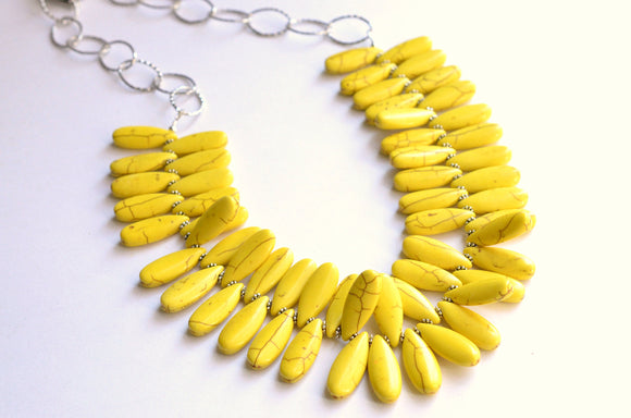 Yellow Statement Necklace, Bead Necklace, Chunky Necklace, Chain Necklace, Gift For Her - Raindrops