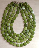 Dark Green Statement Necklace Beaded Acrylic Necklace Multi Strand Necklace