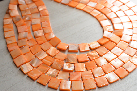 Orange Statement Necklace, Bead Necklace, Shell Necklace, Chunky Necklace, Multi Layer Necklace, Gift For Her - Tegan