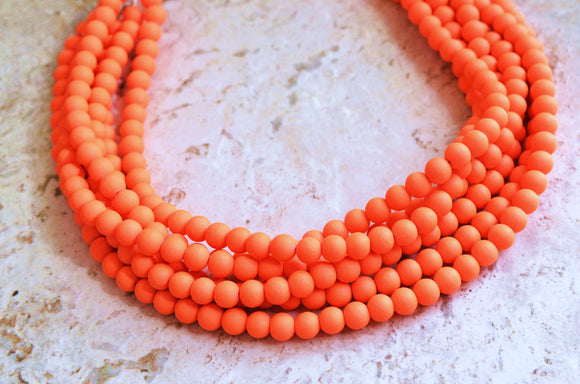 Neon Orange Necklace, Statement Necklace, Matte Acrylic Necklace, Rubber Necklace, Gift For Women - Michelle