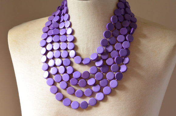Purple Statement Necklace Beaded Wood Necklace Chunky Multi Strand Necklace Gifts For Her - Charlotte