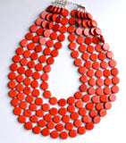Sienna Red Statement Necklace Wood Beaded Necklace Chunky Multi Strand Necklace - Charlotte