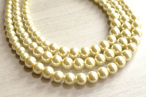 Ivory Pearl Statement Necklace Beaded Chunky Necklace  Multi Strand Necklace Bridesmaid Gifts - Julianne