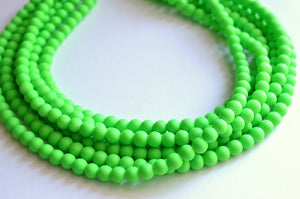 Neon Green Necklace, Statement Necklace, Rubber Bead Necklace, Matte Chunky Necklace - Michelle