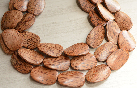 Wood Statement Necklace Beaded Brown Necklace Gifts For Her - Miranda