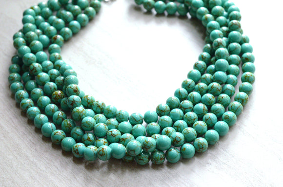 Green Statement Necklace Turquoise Beaded Chunky Necklace Gifts For Her - Alana
