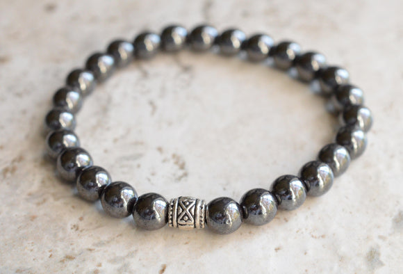 Mens Stretch Bracelet Hematite Beaded Bracelet Gray Bracelet Womens Bracelet Gifts For Men- Manuel