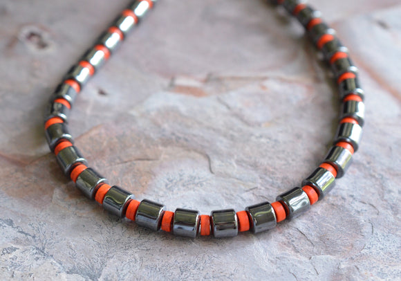 Orange Beaded Necklace Mens Hematite Necklace Mens Jewelry  Mens Gifts - Samson