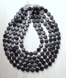 Black Statement Necklace, Beaded Necklace, Wood Necklace, Multi Strand, Chunky Necklace, Gifts For Her - Charlotte