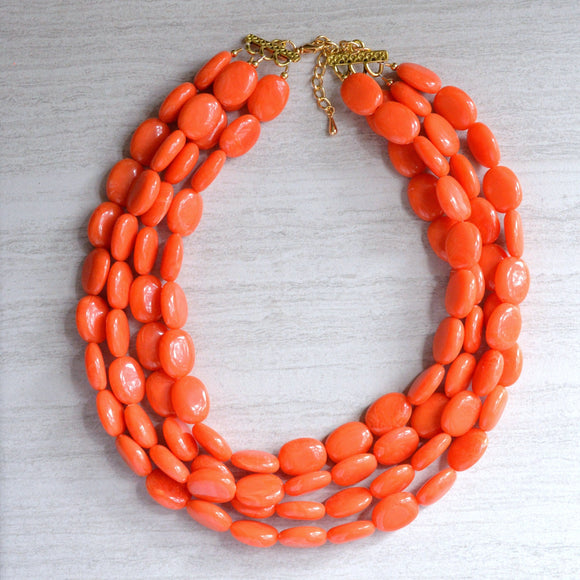 Orange Statement Necklace Coral Lucite Necklace Beaded Chunky Necklace - Lauren