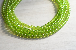 Green Statement Necklace, Glass Bead Necklace, Bridesmaid Gift, Chunky Necklace, Multi Strand - Michelle
