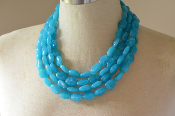 Blue Statement Necklace Lucite Beaded Necklace Acrylic Multi Strand Necklace - Lauren