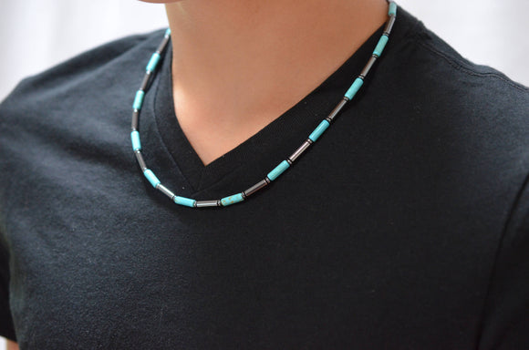 Mens Surfer Necklace Turquoise Beaded Necklace Mens Gifts - Wyatt