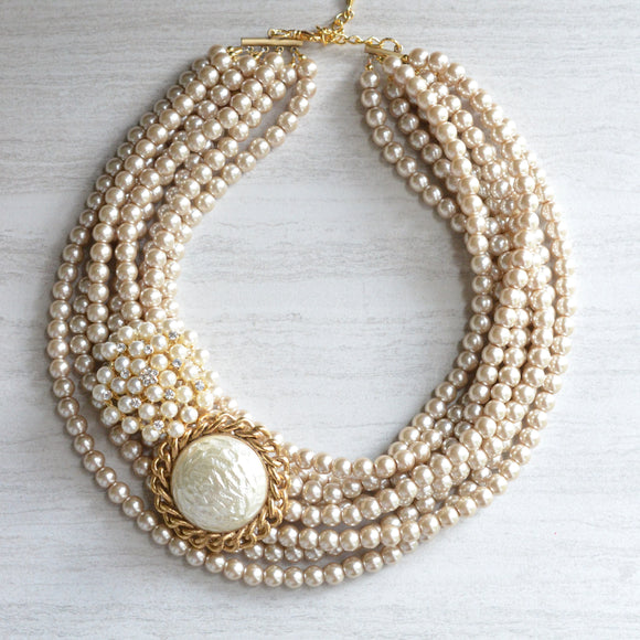Brooch Statement Necklace Ivory Pearl Necklace Bridal Necklace Chunky Necklace - Anastasia