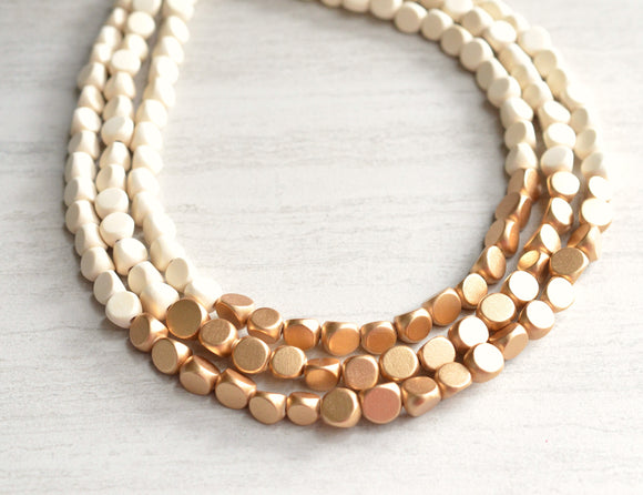 White Gold Beaded Necklace Wood Statement Necklace Bridesmaid Gifts - Lisa