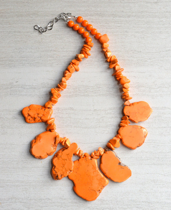Orange Statement Necklace Beaded Chunky Necklace - Delaney