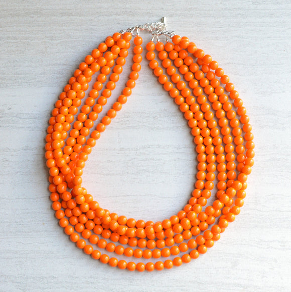 Orange Statement Necklace Beaded Glass Necklace Bridesmaid Gifts - Michelle