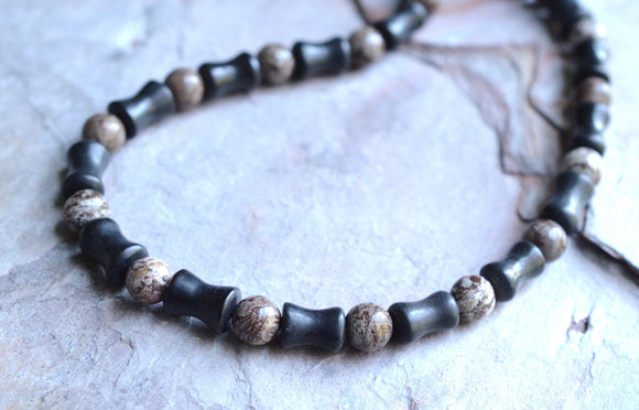 Mens Beaded Necklace Brown Black Jasper Necklace Stone Necklace Man Necklace Gifts For Him - Phoenix