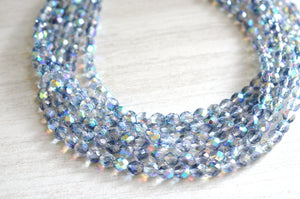 Blue Gray Statement Necklace, Crystal Beaded Necklace, Chunky Necklace, Multi Strand Necklace - Rebecca
