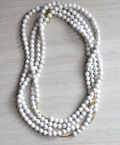 Long White Statement Necklace Howlite Beaded Necklace Gold Necklace - Tressa