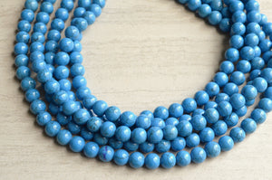 Blue Statement Necklace Beaded Chunky Necklace Gifts For Women - Alana