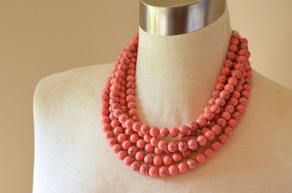 Pink Statement Necklace, Beaded Necklace, Chunky Necklace, Multi Strand, Stone Necklace, Gifts For Her - Alana