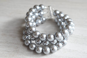 Pearl Beaded Bracelet Silver Chunky Bracelet Glass Bracelet Bridesmaid Gift - Michelle