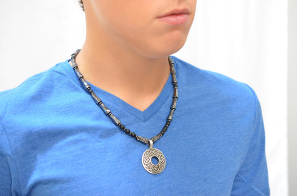Mens Pendant Necklace Hematite Beaded Necklace Gifts For Him - Loki