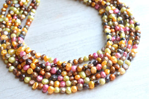 Pearl Statement Necklace, Bridal Necklace, Chunky Necklace, Multi Color Necklace, Bridal Jewelry - Michelle