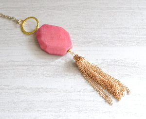 Pink Jade Necklace Gold Necklace Tassel Necklace Long Necklace - Maggie