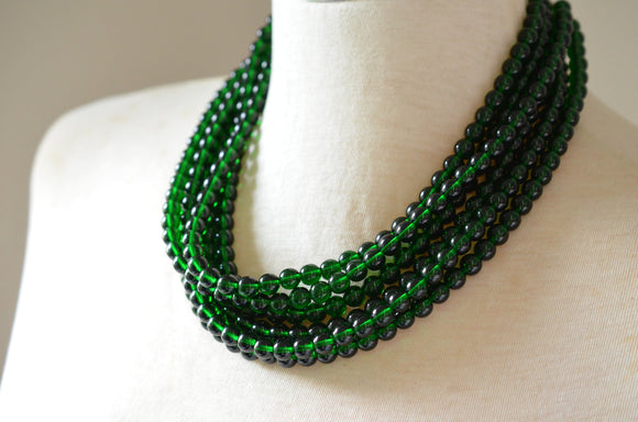 Emerald Green Statement Necklace Glass Beaded Necklace Bridesmaid Gifts - Michelle
