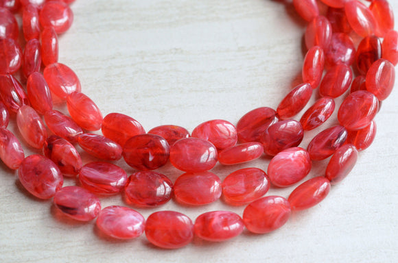 Red Statement Necklace Lucite Multi Strand Necklace Chunky Acrylic Necklace  - Lauren