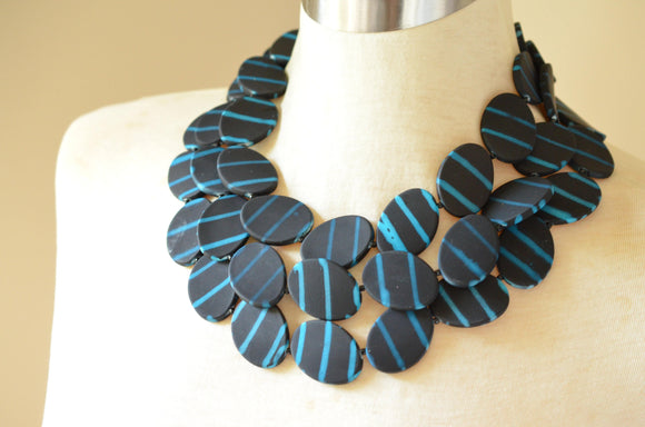 Black Blue Statement Necklace Matte Beaded Necklace Rubber Multi Strand Necklace Gifts For Her - Morgan