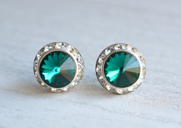 Emerald Green Stud Earrings Crystal Post Earrings Rhinestone Earrings Bridesmaid Gifts - Mirabelle