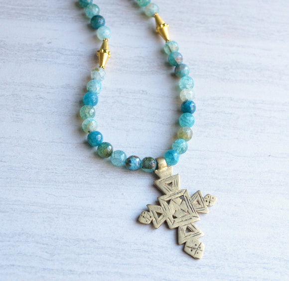 Blue Statement Necklace Long Beaded Cross Necklace Gifts For Her - Imi