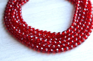 Garnet Statement Necklace Red Crystal Necklace Chunky Beaded Necklace - Rebecca
