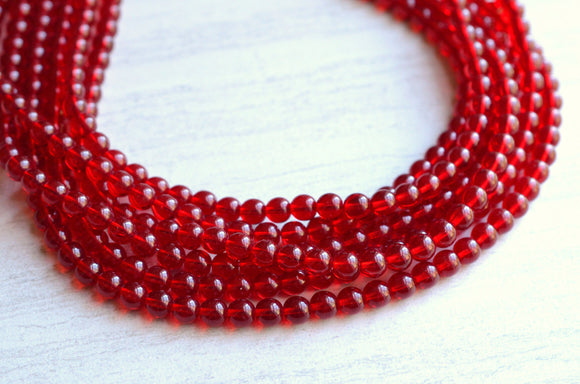 Red Statement Necklace Glass Beaded Necklace Chunky Multi Strand Necklace Bridesmaid Jewelry - Michelle