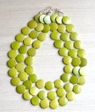 Green Beaded Necklace Statement Necklace Chartreuse Necklace Lucite Necklace Gift For Her - Charlotte