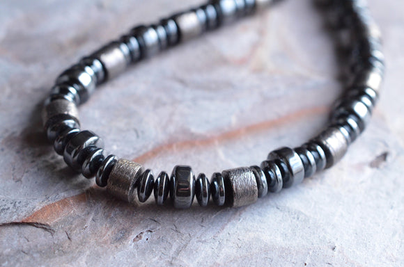 Copper Mens Necklace Hematite Beaded Necklace Gifts For Men - Crankshaft Necklace
