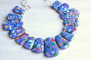 Blue Statement Necklace Cobalt Bib Necklace Beaded Necklace Silver Necklace - Reina