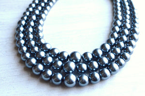 Gray Pearl Statement Necklace Beaded Chunky Necklace Gifts For Her - Rae