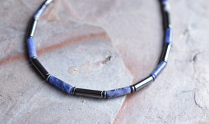 Sodalite Beaded Mens Necklace Hematite Surfer Necklace Gifts For Dad - Wyatt