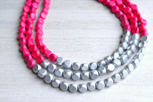 Hot Pink Wood Statement Necklace Beaded Multi Strand Necklace - Lisa