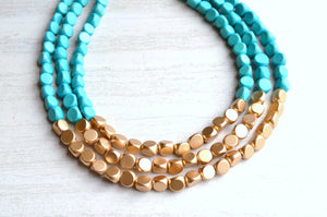 Turquoise Gold Statement Necklace Wood Beaded Necklace Gifts For Her - Lisa