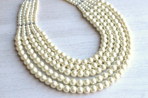 Ivory Pearl Statement Necklace Beaded Bridal Necklace- Emilia