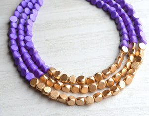 Purple Gold Beaded Necklace Statement Wood Necklace Gifts For Women - Lisa