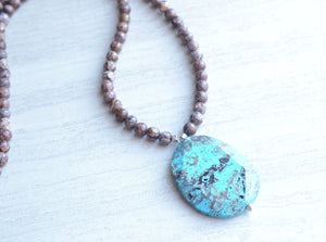 Blue Statement Necklace, Brown Bead Necklace, Pendant Necklace, Long Necklace, Stone Necklace, Gift For Her - Jessie