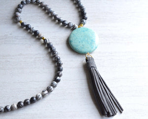Black Blue Long Necklaces Tassel Statement Necklace Gifts For Her - Vienna