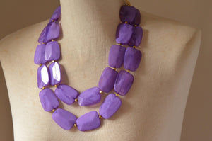 Purple Statement Necklace, Lucite Necklace, Big Bead Necklace, Acrylic Necklace, Chunky Necklace, Gift For Her - Jane