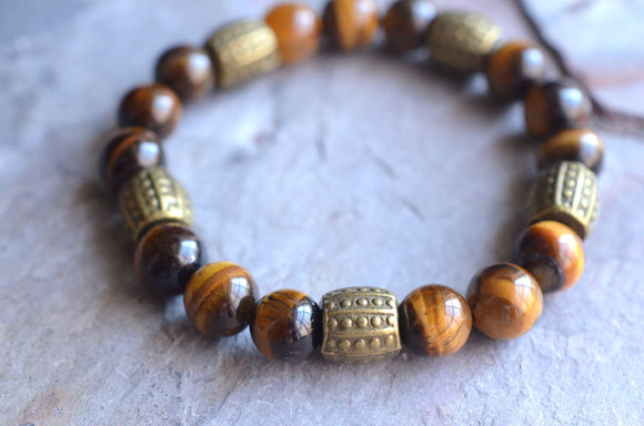 Tiger Eye Mens Bracelet Beaded Stretch Bracelet Womens Bracelet Mens Gifts - Stephen